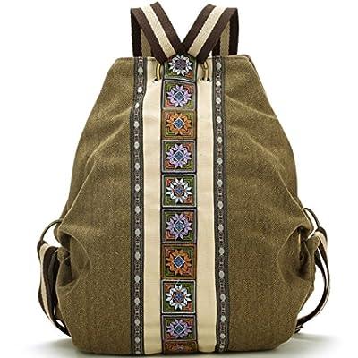 Women's Canvas Travel Backpack Daypack Casual Shoulder Bag