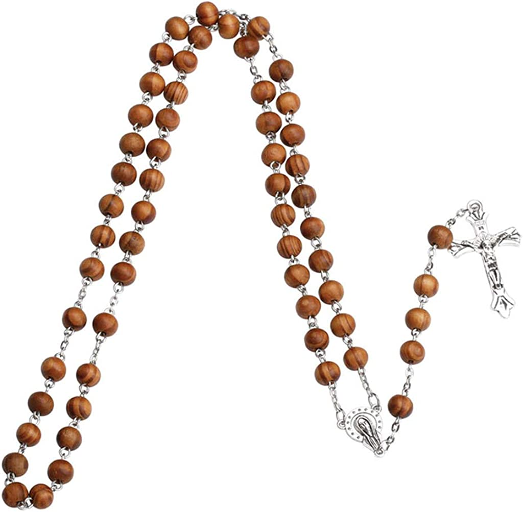 BUZHI Wooden Rosary Necklace, Catholic Prayer Rosary Wood Beads Necklace with Cross Crucifix for Men and Women Gift