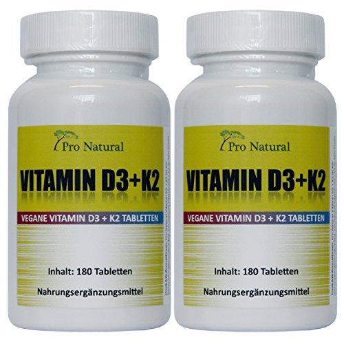 Vitamin D3 5000 I.E. (Cholecaliferol) + Vitamin K2 MK7 (All-Trans Menaquinon 7 - MK7 ) 200mcg - 2 Dosen (360 vegane Tabletten 2 Packungen a 180)