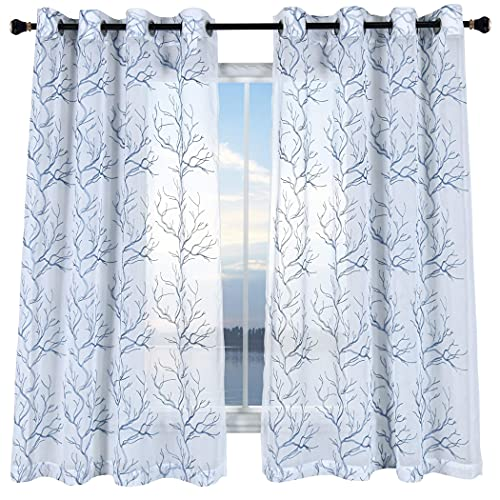 KEQIAOSUOCAI Faux Linen Semi Sheer Curtains 72 Inch Length White and Black Branch Embroidered Grommet Window Drapes 52x72 Privacy Voile Curtains 2 Panels for Living Room Bedroom