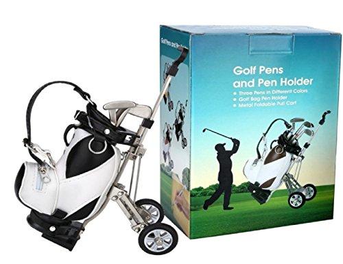 LL-Golf® Stiftehalter Miniatur Golfbag mit Trolley und 3 Golfschläger Stiften Geschenk