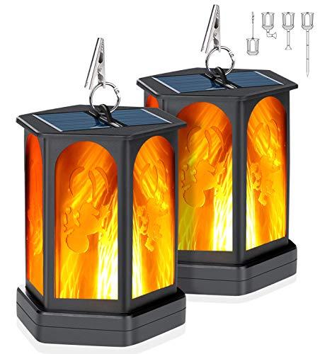 Idealife Solarlaterne für Außen Flammenlicht Garten, Solarleuchten Solarfackeln 96 LED mit Realistischen Flammen Automatische EIN/Aus Wasserdicht Solarlampen Solarlichter Weglichter Hoflicht 2 Stück