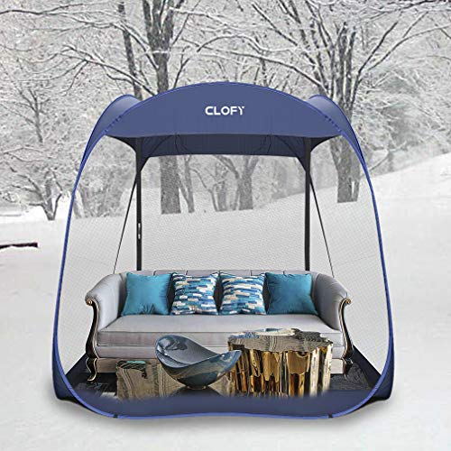 CLOFY Screen Camping Tent with PE Floor|Instant Pop Up Screen House Room|360° Screen Room/Canopy Shelter Quick Set Tent for Camping or Family Reunions|7.5' x 7.5' x 7' Canopy Tent
