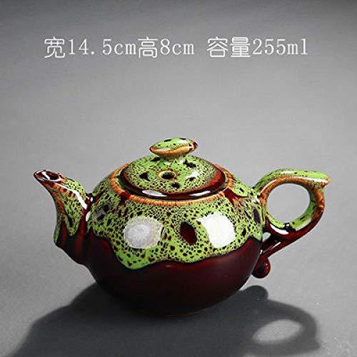 BEPM Tetera Tetera con Filtro Cambiar El Esmalte Tetera Tradicional China Tetera Diseño Elegante Servicio De Té China Tetera Roja Regalos Creativos-Verde