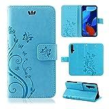 betterfon | Huawei Nova 5T Hülle Flower Hülle Handytasche Schutzhülle Blumen Klapptasche Handyhülle Handy Schale für Huawei Nova 5T Blau