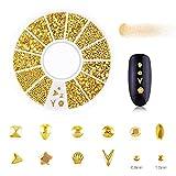 Kit de 12 colores en caja Rhinestone Strass Aleación 3D Decoraciones Hibrid Crystal Metal Studs Perla para uñas Manicure Set-FVD-12XY05