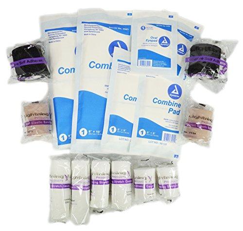 New Improved Bandages - Lightning X EMS/EMT Medical Gauze Bandage Refill Kit for First Responder First Aid Kit