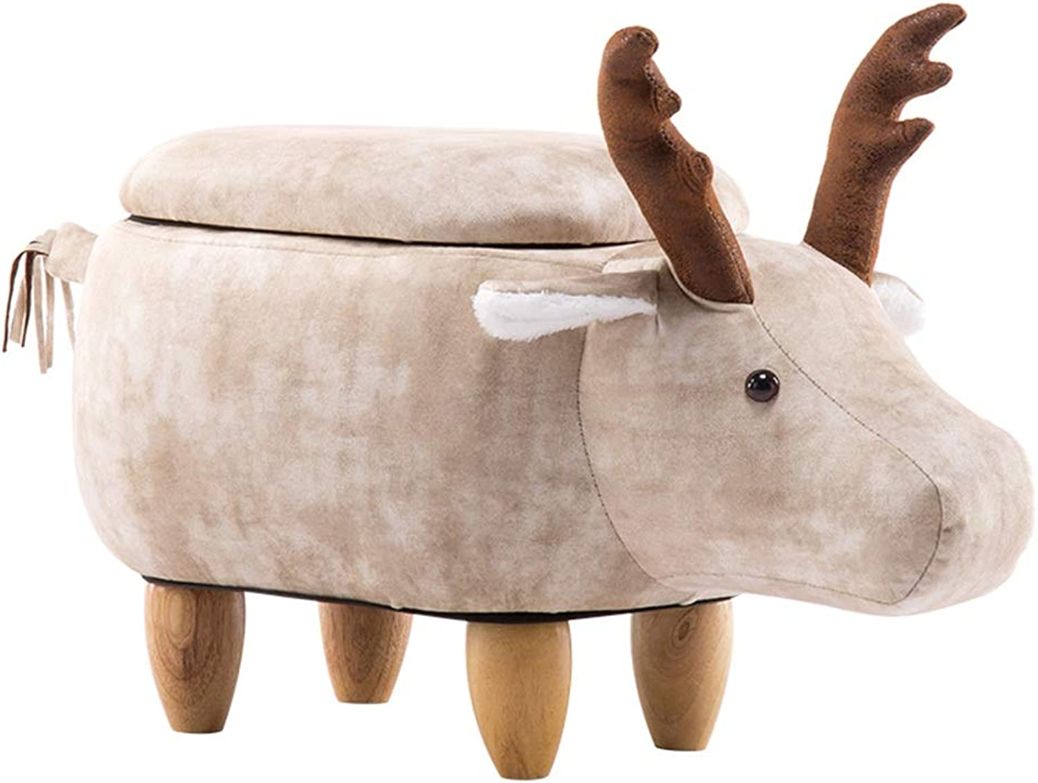 XF Hong Tai Yang Sofa Stool - - Creative solid wood deer sofa stool, small apartment, living room, home, adult soft seat back storage stool sofa bench (size 67X37X35CM)   (Size   Storage-Off-white)