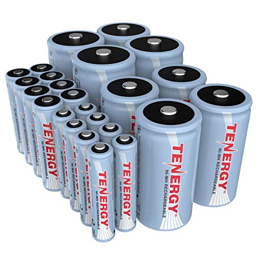 Tenergy High Drain AA AAA C and D Battery, 1.2V Rechargeable NiMH Batteries Combo, 8-Pack 2500mAh AA Cells, 8-Pack 1000mAh AAA Cells, 4-Pack 5000mAh C Cells and 4-Pack 10000mAh D Cell Batteries