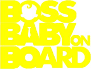 Boss Baby On Board Car-Styling Vehicle Body Window Reflective Sticker Decals - Yellow