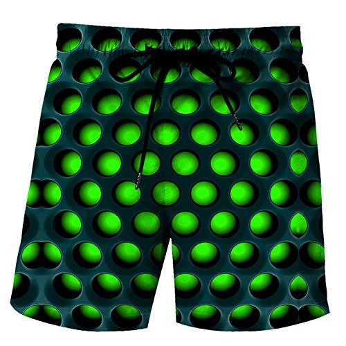 URVIP Herren Badehose Waben Printed Badeshose Sommer Lusting 3D Druck Badeshorts Schnelltrocknend Schwimmhose Strand Shorts mit Taschen Multi-07 L