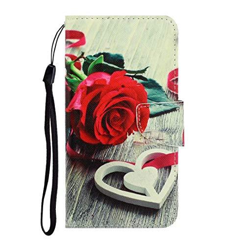 Funda para Xiaomi Poco X3 NFC, a prueba de golpes, piel sintética, con tapa y cierre magnético, tarjetero, funda protectora para Xiaomi Poco X3 NFC, color rojo rosa