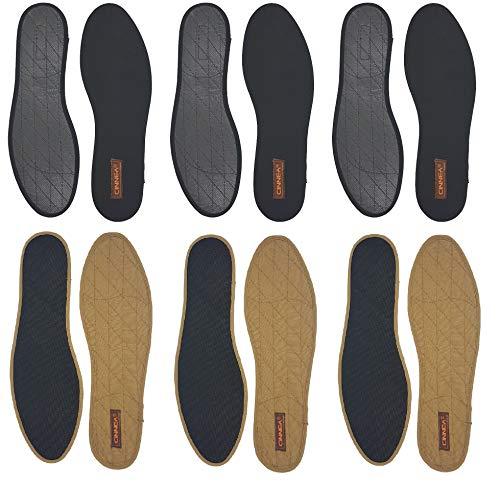 Cinnea 3 Paar Zimt Einlegesohlen, Antirutschvließ gegen Schweiß und Fußgeruch, Damen, Herren, Schwarz, Größe 37