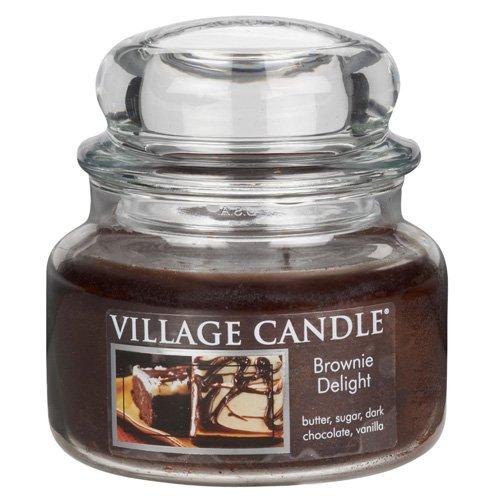 Village Candle Brownie Delight Vaso di Vetro Piccolo, Marrone, 10.3x10.1x10.9 cm