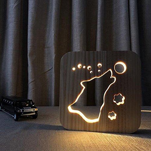 OOFAY Night Light@ LED Veilleuse 3D Illusion Lampe Personnalité Totem De Loup Lumières Sculpture Art du Bois Lampe De Tableau/Lumière d'alimentation D'usb+Ligne De Données(avec Interrupteur)