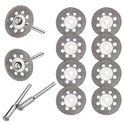 Diamond Cutting Wheel Cut Off Discs Coated Rotary Tools,545 Diamond Cutting Wheel (22mm) 10pcs with 402 Mandrel (3mm) 2pcs and 1 Pcs Cross Crystal Screwdriver, for Dremel Rotary Tools