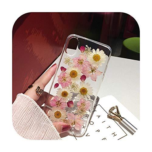 RaCarrot - Cover per iPhone X XS Max XR 6 6S 7 8 Plus 11 Pro Max SE 2020, realizzata a mano, con fiori freschi