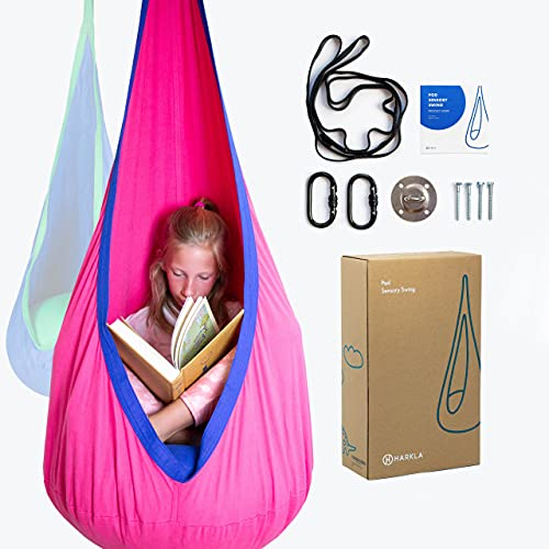 Harkla's Sensory Kids Pod Swing Seat - Includes All Hardware - Indoor and Outdoor Swing - Sensory Room & Treehouse Swing