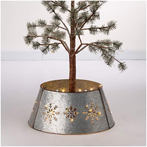 Glitzhome Snowflake Diecut Galvanized Tree Collar Metal Tree Skirt for Christmas Decor 21' D