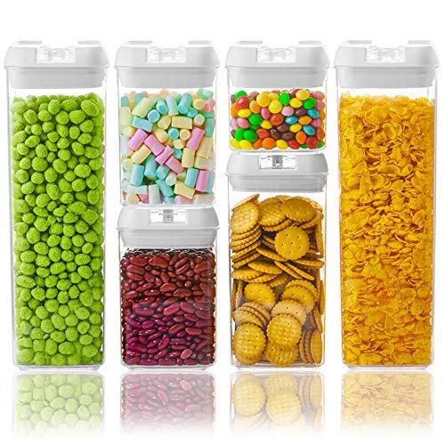 Numyton Stapelbare Vorratsdosen & Frischhaltedosen Set 6 Stück, BPA frei, Frischhaltedosen in Allen Größen mit Deckel Lagerbehälter für Getreide Nüsse Trockenvorräte, Rechteckig, Weiß/Transparent