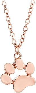 lnlyin Cute perro pata colgante collar simple joyas para mujeres niñas, oro rosa, As description