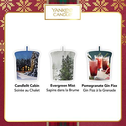 YANKEE CANDLE Set Regalo con 3 Candele Votive profumate e 1 Supporto per Candele Votive, Collezione Natale in Montagna, Confezione Regalo Natalizia