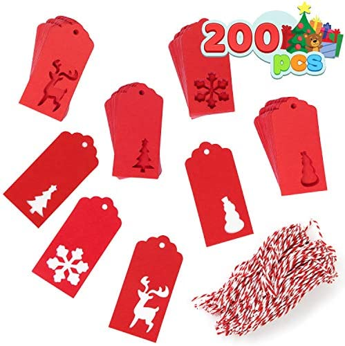 JOYIN 200 Pcs Assorted Kraft Paper Gift Tags Red Color for Christmas Gift Wrapper Labels DIY product image