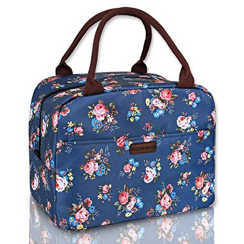 RONAVO Lunchtaschen für Frauen, isoliert, Kühltasche – Lunchtasche mit großem Fassungsvermögen Blue Lunch Bag