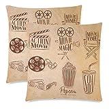 Confezione da 2 cartelli per cinema con ciak e copertura per cuscino per popcorn Twin Sides, sedia...
