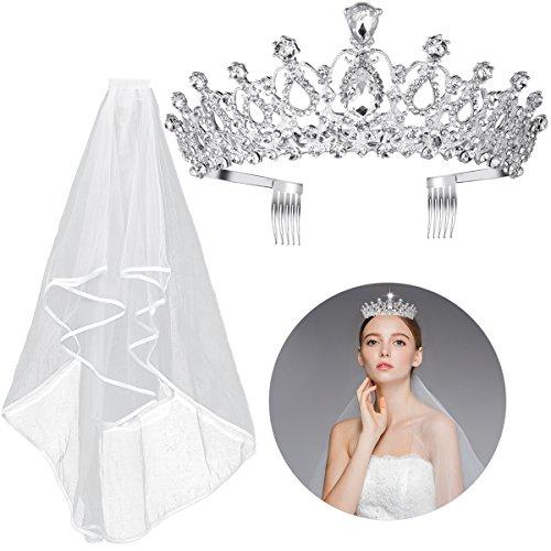 Frcolor Kristall Tiara Krone Strass Hochzeit Braut Tiara Stirnband, Braut Hochzeit Schleier mit Kamm enthalten