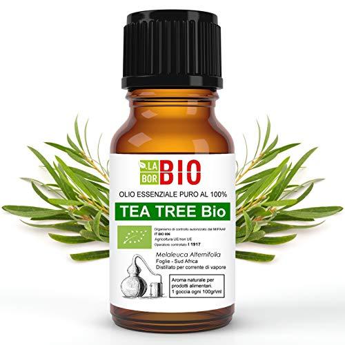 OLIO ESSENZIALE TEA TREE (TEA TREE OIL - ALBERO DEL TE') BIO 10Ml - 100% PURO E NATURALE - USO ALIMENTARE, COSMETICO E PER DIFFUSORI - AROMATERAPIA - Melaleuca Alternifolia -