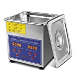 Flexzion Ultrasonic Jewelry Cleaner Eyeglass Sonic Cleaner Machine 1.3L /w Heater & Digital Timer for Cleaning Jewelry Watch Glasses Lens Ring Diamonds Electronic Tools Coins Dental Lab Instruments
