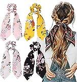 OJ Scrunchies Silk Satin Scarf Elastic Flower Printed Hair Ties Bands Bobbles Ponytail Holder...