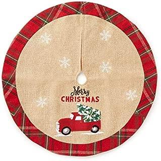 WinterWonderlandLane Merry Christmas Red Truck & Plaid Mini Tree Skirt 18
