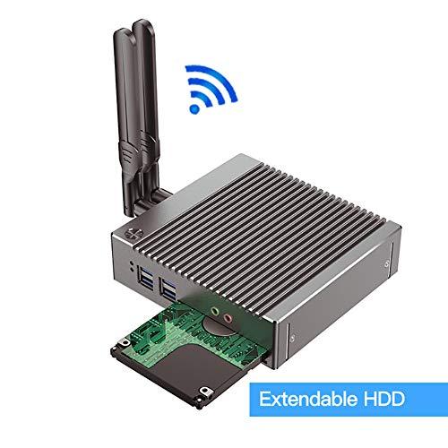 Fanelss Rugged Mini PC,Desktop Computer,Palm Size,Intel Celeron N2940,(Silver),[HUNSN BH10],PXE,WOL,[WiFi/BT4.0/2HDMI/2LAN/4USB2.0/2USB3.0](Barebone,NO RAM, NO Storage,NO System)