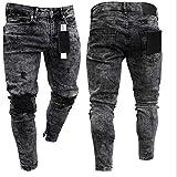 Focisa Vaqueros Skinny Jeans Men Streetwear Jeans Homme Hip Hop Broken Hole Male Pencil Pants Biker Pants Striped Pants XL Black