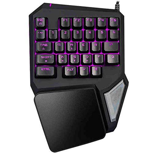ZQJ Delux T9 pro-schwarz Einhandtastatur mit 35 Tasten Wired Gaming-Tastatur Professionelle ergonomische Tastatur mit 7-Farben-Hintergrundbeleuchtung für PUBG / LOL / WOW / DOTA