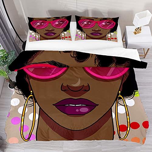 ATZTD Juego de ropa de cama transpirable para mujer africana, gafas de sol, 3 piezas, funda de edredón (1 funda de edredón + 2 fundas de almohada), microfibra ultra suave