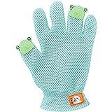 ペットブラシ 猫 抜け毛取り グルーミング グローブ クリーナー シリコン製 2段ピン リブ編み袖口 ブラッシング マッサージ 手袋 水洗い可 犬も適用 (グリーン)