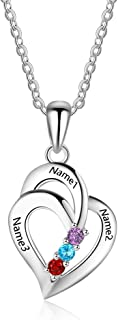 Personalized Mothers Name Necklace Sterling Silver with 3 Simulated Birthstones Pendant Relationship Heart Name Necklace for 3 Meaningful Necklace for Women
