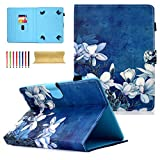 Dteck 7.0 Inch Universal Tablet Wallet Case for Samsung Galaxy/Amazon kindle fire 7.0 2015 2017/ Kindle Oasis E-reader/Huawei Mediapad/Google/RCA/KOBO and More 6.5'-7.5' inch Tablet, White Flower