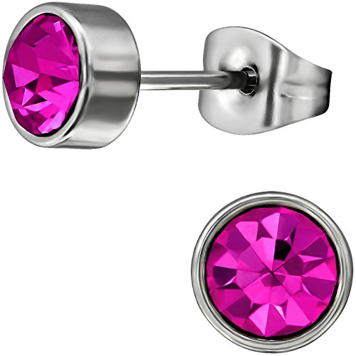EYS JEWELRY runde Kristall Damen Ohrstecker 316L Chirurgenstahl 7 mm pink-fuchsia Ohrringe Edelstahl Kristallschmuck