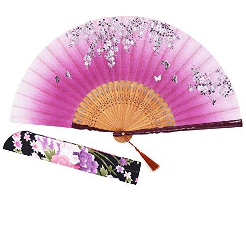 Sthuahe - Abanico clásico de seda para mujer tallado y pintado a mano, abanico chino/japonés, regalo de boda, para bailes, abanico de princesa, 21 cm, tela, rosa (b)