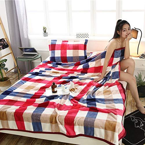 PengMu plaid voor bank en bed, kan niet worden toegestaan in de herfst en winter van flanel met rode en blauwe ruiten, onderhoudsvriendelijk voor volwassenen en kinderen.