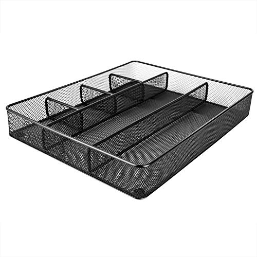 Product Image of the Amazon Basics Desk Drawer Organizer for Office and Home, Metal Mesh, 6 Compartments, Black
