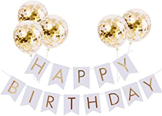 Tellpet White HAPPY BIRTHDAY Banner with 5 pcs Gold Confetti Balloons