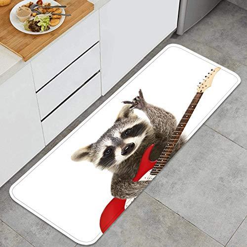 "Washable Kitchen Rug,Portrait Funny Raccoon Electric Guitar Showing,Non-Slip Kitchen Mat Comfort Floor Mats Stain Resistant Doormat Carpet 17.7"" x 42.2"""