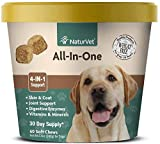 NaturVet All-in-One Dog Supplement - for Joint Support, Digestion, Skin, Coat Care – Dog Vitamins, Minerals, Omega-3, 6, 9 – Wheat-Free Supplements for Dogs – 60 Soft Chews