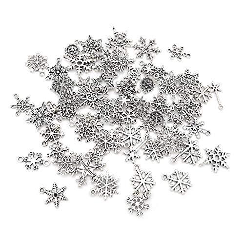 SJUNJIE 90 Stück Mini Schneeflocke Anhänger Charms Weihnachten Deko für DIY Basteln Ornamente Armband Schmuck Halskette Ohrringe Bettelarmband Weihnachtsschmuck(Silber)