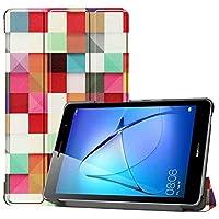 Huawei MatePad T8 ケース【Trocent】ファーウェイ MatePad T8 カバー スタンド機能付き 三つ折型 超薄型 高級PUレザーカバー 内蔵マグネット開閉式 (正方形)
